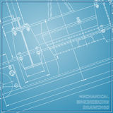 Mechanical engineering drawings. Engineering. Vector blue and white background royalty free illustration