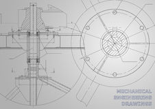Mechanical engineering drawings. Vector gray background. Corporate Identity vector illustration