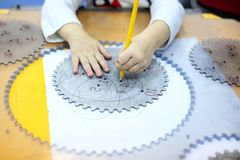 Mechanical engineering education for children. Little kid study basics of mechanical engineering stock images