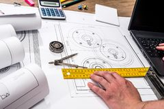 Mechanical engineering of parts with tools, laptop,. Drawing top royalty free stock photography