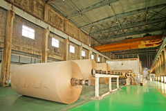 mechanical equipment in a paper mill factory Stock Image