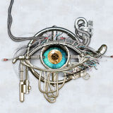 Mechanical eye. In direct eye contact vector illustration