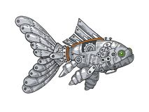 Mechanical fish animal color sketch engraving. Vector illustration. Scratch board style imitation. Black and white hand drawn image vector illustration