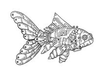 Mechanical fish animal engraving vector. Illustration. Scratch board style imitation. Black and white hand drawn image vector illustration