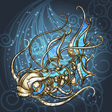 Mechanical fish. Illustration with mechanical golden fish in the cloud of bubbles drawn in steam punk style Stock Photography