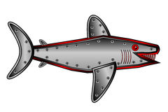 Mechanical fish shark on white. Stock Images