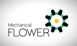 Mechanical flower logo Royalty Free Stock Images