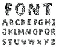 Mechanical font style, Vector. Royalty Free Stock Images