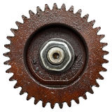 Mechanical gear. Details of a brown mechanical gear on a white background Royalty Free Stock Photo
