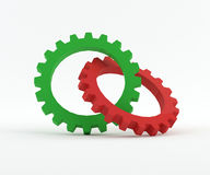 Mechanical Gear. Green and red Gear isolated on white vector illustration