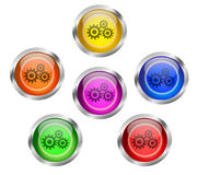 Mechanical Gears Icon Button. Set of shiny mechanical gears round web icon buttons in six different colors - yellow, orange, red, green, pink blue, with silver Stock Photography