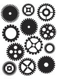 Mechanical Gears Illustration. Mechanical Gears or Pulleys of Various Shapes Designs and Sizes Black and White Illustration Isolated on White Background stock illustration