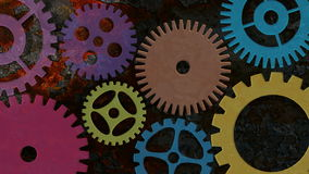 Mechanical Gears Movement on Rusty Grunge Texture Background stock video footage