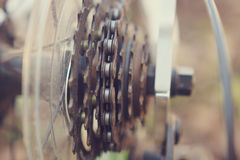 Mechanical gears parts of the bicycle, metal, gears, sport. Royalty Free Stock Photography