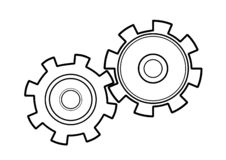 Mechanical gears sketch vector image. Mechanical gears sketch isolated vector image. Schematic black and white illustration royalty free illustration
