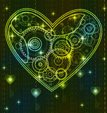 Mechanical green Valentine heart Stock Photos
