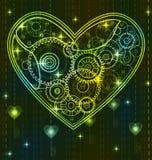 Mechanical green Valentine heart. Mechanical black and green Valentine heart with key Stock Photos