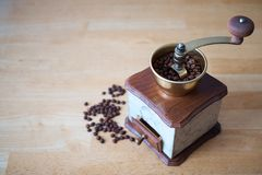 Mechanical grinder with adjustable grinding degree. Can be said mill coffee beans. royalty free stock photography