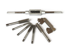 Mechanical hand tool set of screw tap and die cutting. Royalty Free Stock Photography