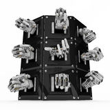 Mechanical Hands, Cabinet. Metal 3d Mechanical hand abstract, isolated stock illustration