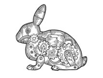 Mechanical Hare rabbit animal sketch engraving. Vector illustration. Scratch board style imitation. Black and white hand drawn image royalty free illustration
