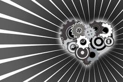 Mechanical heart. On gray shadows Stock Illustration