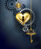 Mechanical heart with key. Mechanical heart with gears and a golden key on a gray background Stock Photos