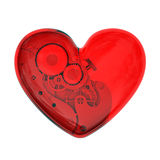 Mechanical heart from red glass Royalty Free Stock Image