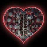 Mechanical heart V8 on black 3d Royalty Free Stock Image