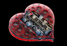 Mechanical Heart V8 Isolated On Black Stock Images