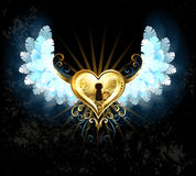 Mechanical heart with white wings Stock Images