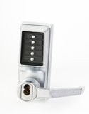 Mechanical keypad lock. With five buttons in studio Royalty Free Stock Images