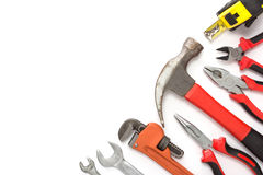 Mechanical kit in wooden background. construction tool with a co Stock Photos