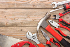 Mechanical kit in wooden background. construction tool Stock Images