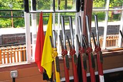 Mechanical Lever frame in signal box, Arley. Stock Photo