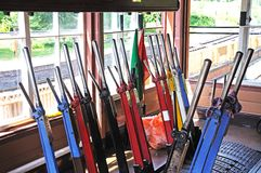 Mechanical Lever frame in signal box. Royalty Free Stock Images