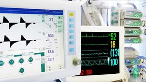 Mechanical lung ventilation, cardiac and vital sign monitoring in ICU.