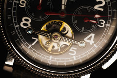 Mechanical luxury men wrist watch, deal Royalty Free Stock Images