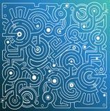 Mechanical  maze on blue background Stock Photos
