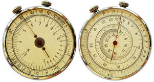 Mechanical measuriment - two sides. Antique mechanical measuriment on a white background - two sides Royalty Free Stock Photography