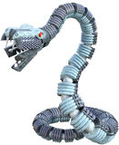 Mechanical Metal Robot Snake Isolated. Mechanical robot metal machine snake. The dangerous rattlesnake is isolated on white royalty free stock images