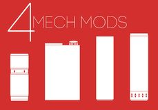 4 mechanical mods icons set Royalty Free Stock Photos