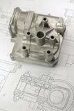 Mechanical part on engineering drawing. Close up shot mechanical part on engineering drawing royalty free stock image