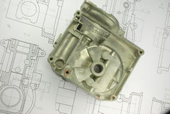 Mechanical part on engineering drawing Stock Image