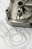 Mechanical part on engineering drawing. Close up shot mechanical part on engineering drawing royalty free stock photo