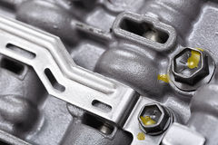 Mechanical part with metal components and hydraulic valves Royalty Free Stock Images