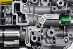 Mechanical part with metal components and hydraulic valves Royalty Free Stock Image