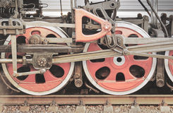 Mechanical part of steam locomotive. Royalty Free Stock Photo
