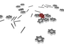 Mechanical parts. Scattered random mechanical parts, over white, isolated Stock Photos