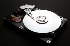 The mechanical parts of the server`s hard drive, data encryption royalty free illustration